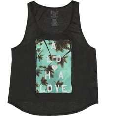 Billabong Women's Aloha Love Tank ($11) ❤ liked on Polyvore featuring tops, shirts, tank tops, t-shirts, off black, t-shirt/prints, black shirt, long length shirts, billabong tank tops and long black tank