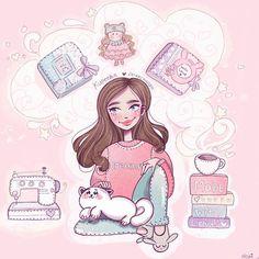 Character Design Ideas~ By Alisha Anime Kawaii, Kawaii Art, Amazing Drawings, Cute Drawings, Bullet Art, Cute Cartoon Girl, Unicorn Art, Character Design Animation, Cute Art