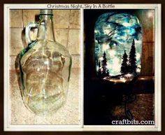 Christmas Night Sky Drawn In A Bottle