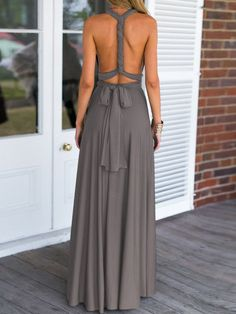 Summer Beach Maxi Dress in Grey with V Neck. This is the perfect dress for your…