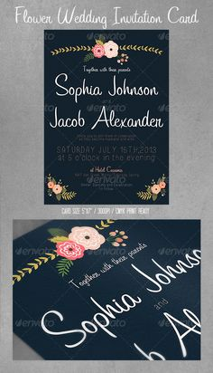 Flowers Wedding Invitation Card / Postcard — Photoshop PSD #flower #invite • Available here → https://graphicriver.net/item/flowers-wedding-invitation-card-postcard/4337976?ref=pxcr