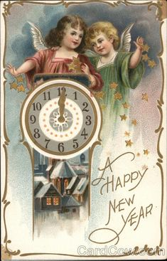 New Year Postcard Child Angels with Giant Clock Gold Embossed Stars Raphael Tuck Series 145 Vintage Happy New Year, Happy New Year Images, Happy New Year Cards, New Year Wishes, New Year Greetings, Vintage Year, Vintage Greeting Cards, Vintage Christmas Cards, Christmas Images