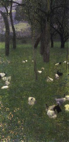 Gustav Klimt. After the Rain (Garden with Chickens in St. Agatha) 1899