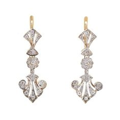 Pre-owned 14K Multi-Tone Gold Diamond Dangle Earrings ($1,663) ❤ liked on Polyvore featuring jewelry, earrings, gold diamond earrings, diamond earrings, yellow gold dangle earrings, 18 karat gold earrings and 14k diamond earrings