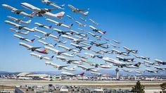 75 individual shots merged into one image during 8 hours at Los Angeles International airport (LAX).