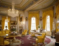 The Drawing Room is decorated and furnished as far as possible as it would have been in 1890, with yellow satin curtains, full length mirrors and cut-glass chandeliers. Visiting foreign royalty were often received in this room, and the queen generally retired here after dinner to play cards or to sing and play the piano with members of the royal household.