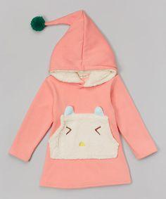 Pink & White Cat Pocket Hoodie - Infant, Toddler & Girls