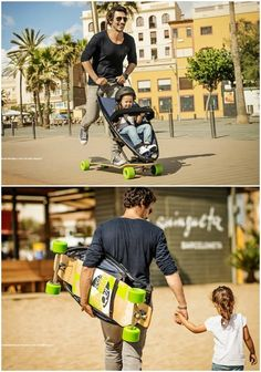 Quinny Longboard Stroller takes cool to a new level for parents. Yes, that's an actual longboard -- for you! Not your kids!