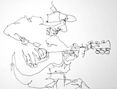 "Blind contour drawing Kimon Nicolaides invaluable book, ""The Natural Way to… Contour Line Drawing, Blind Contour Drawing, Gesture Drawing, Contour Drawings, Drawing Tips, Hand Drawing Reference, Pose Reference, Continuous Line Drawing, Guitar Art"