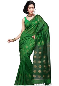 Forest Green Pure Matka Silk Bengal Handloom Saree with Blouse