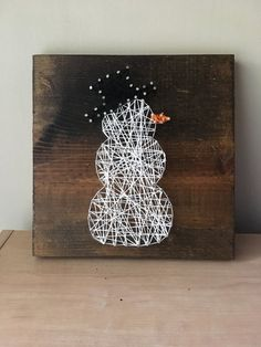 Excited to share this item from my shop: Snowman string art String Wall Art, Nail String Art, String Crafts, Cute Crafts, Crafts To Do, Hobbies And Crafts, String Art Templates, String Art Patterns, Fall Arts And Crafts