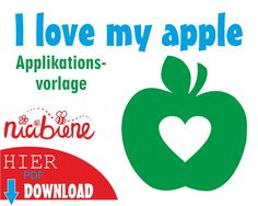 Applikationsvorlage Apfel mit Herz