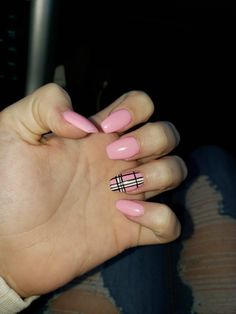 Acrylic Nails Acrylic Nails,Nägel Pink coffin style with plaid design. Acrylic Nails Coffin Pink, Simple Acrylic Nails, Summer Acrylic Nails, Pink Coffin, Pastel Nails, Plaid Nails, Swag Nails, Grunge Nails, Bling Nails