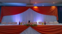 Beautiful head table décor by Midland Mandaps Ltd at The Nottingham Belfry Hotel