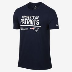 """REPRESENT YOUR TEAM The Nike """"Property Of"""" (NFL Patriots) Men's T-Shirt features a team logo and print on soft, comfortable cotton for a loyal look and lasting comfort. Product Details Rib crew neck with interior taping Fabric: 100% cotton Machine wash Imported"""