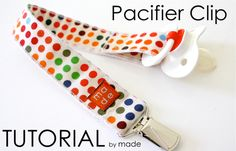 Pacifier clips are easy and fun, and a great way to use up scraps of fabric. The next time you make a baby outfit, bib, blanket, or whatever, keep a tiny bit of the leftovers for a coordinating pacifier clip.
