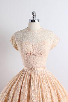 ➳ vintage 1950s dress * apricot lace floral * acetate lining * detachable belt * bow accent * metal back zipper condition   excellent fits