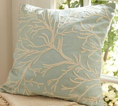 Pottery Barn Blue linen pillow w/coral embroidery