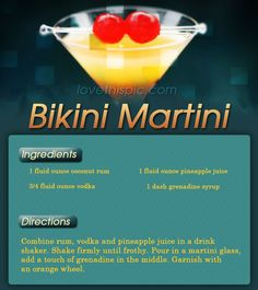 Bikini Martini alcohol drink yummy delicious alcohol cocktail martini recipe recipes easy I mad it with 2 oz pineapple juice. Cocktails, Non Alcoholic Drinks, Party Drinks, Cocktail Drinks, Fun Drinks, Martinis, Martini Recipes, Cocktail Recipes, Bikini Martini Recipe