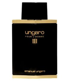 Ungaro pour L'Homme III Emanuel Ungaro for men. Top notes are orange, mahogany, coriander, lavender, vodka, sage and lemon; middle notes are jasmine, lily-of-the-valley, rose and geranium; base notes are sandalwood, patchouli, musk, oakmoss, vetiver and cedar.