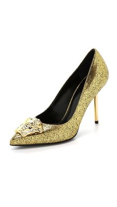 Versace Gold Medusa Pumps  LOVE.  CRACKLED METALLIC LEATHER FINISHED WITH A GOLD TONE MEDUSA.   VERY COOL