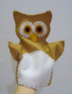 Handmade Owl Felt hand puppet by ModernSimpleBaby on Etsy, $10.50