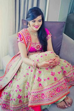 Bridal Wear - The Cutest Bride! Photos, Hindu Culture, Beige Color, Hairstyle, Bridal Makeup, Antique Jewellery pictures, images, vendor credits - Kundan Mehandi Art, Dipak Colour Lab Pvt Ltd, Mahima Bhatia Photography, Asiana Couture, Jasmeet Kapany Hair and Makeup, WeddingPlz