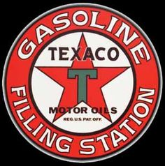 GAS: 1910s Texaco Filling Station & Motor Oil Sign. The Esso brand began in 1912. Other brands included Sacony and Vacuum.
