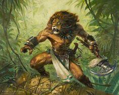 """Jazal Goldmane"" by Jason Miller | Magic : The Gathering | #Fantasy #Creature #Lions (sort of)"