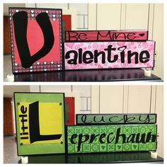 Reversible Holiday Wood blocks (Valentine's/St. Patty's) by BaileysBranches on Etsy https://www.etsy.com/listing/218607344/reversible-holiday-wood-blocks
