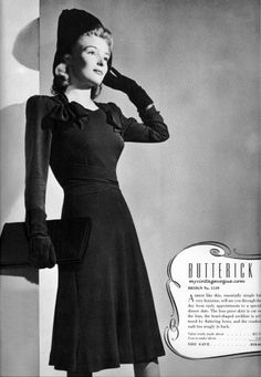 Butterick Singer Style Digest, Fall/Winter 1940. #vintage #1940s #dresses #fashion #sewing