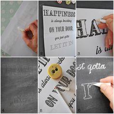 Tafelschrift - Schablone auf Tafel übertragen Anleitung