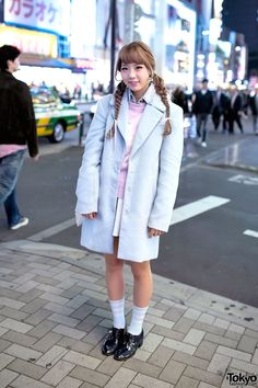 Baby Blue Coat, Flying Tiger Bag & Twin Braids Hairstyle in Harajuku