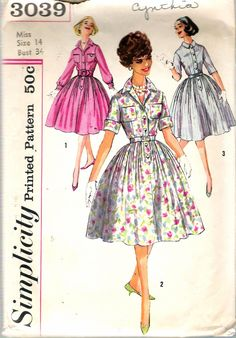 """Vintage 1959 Simplicity 3039 Shirtwaist Dresses Sewing Pattern Size 14 Bust 34"""" by Recycledelic1 on Etsy"""