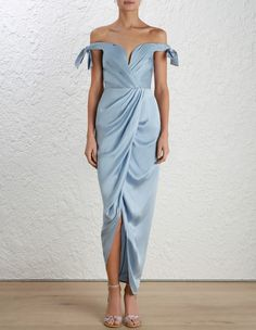 Zimmermann Winsome Drape Cocktail Midi. Model Image. Our model is 5 10 5 and is wearing a size 0