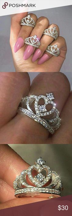 Princess Tiara Queen Crown CZ Diamond Ring Princess Tiara Queen Crown Cubic Zirconia CZ Diamond Swarovski Element Ring Hallmarked/Stamped 925 Sterling Silver/ Will Not Tarnish or Fade.  Available in sizes: 5/6/7/8/9 Jewelry Rings