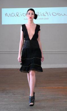 Black silk coctail dress with pleated silk chiffon str., Swarovski embroidery details - sample size - 265Euros.