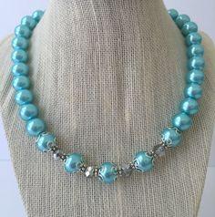 Aqua Blue Chunky Pearl Bridesmaid Necklace by CherishedJewelryCo