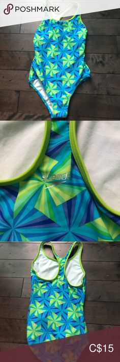 Blue and Green pattern swimsuit. Speedo Swim One Piece Swimsuits, Bikinis, Swimwear, Swimsuit Pattern, Green Swimsuit, Green Pattern, Kids Swimming, Blue Green, Kids Shop
