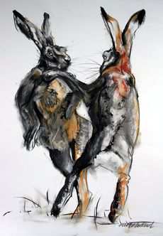 boxing hares -in chalk & charcoal
