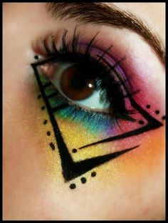 eyemakeupdaytime colorful makeup most have ever seen the eye i The Most Colorful Eye Makeup I Have Ever SeenYou can find Extreme makeup and more on our website 1980s Makeup, Retro Makeup, Colorful Eye Makeup, Makeup Art, 80s Eye Makeup, Makeup Morphe, Dance Makeup, Color Guard Makeup, Punk