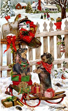 --Wire Hair Dachshund - Christmas Delivery