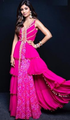 Shilpa Shetty Style Pink Colour Sharara & Blouse With Floor Length Ruffle Jacket Indian Gowns Dresses, Indian Fashion Dresses, Dress Indian Style, Indian Designer Outfits, Indian Outfits, Long Dresses, Bandhani Dress, Saree Dress, Bollywood Dress