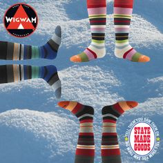 Snow Force Socks from Wigwam Mills, SHEBOYGAN, WI - It's cold out there, people! But that's not stopping the good folks of Wigwam Mills in wintery Wisconsin from making warm, cozy socks just for you—just like they've been doing since 1905! We love the fun stripes of their Snow Force socks and the fact that they're made from a soft, warm, totally non-itchy blend of Merino Wool and nylon with just a touch of spandex to help them stay put. Brighten up your winter with a pair!  shop.wigwam.com