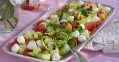 Melonsallad med mozzarella och chilidressing recept