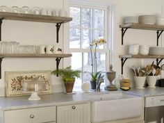 Here are 15 Classic Wood Kitchen Shelves. The most amazing kitchen shelves design made by wood. Kitchen designing ideas with wo. Kitchen Cabinetry, Kitchen Shelves, Wood Shelves, Hanging Shelves, Antique Shelves, White Shelves, Glass Shelves, Floating Shelves Bathroom, Rustic Floating Shelves