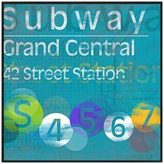 "Grand Central Subway 20 1/2"" Square New York City Wall Art | LampsPlus.com"