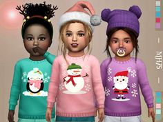 -Some cute winter sweaters for toddlers Found in TSR Category 'Sims 4 Toddler Female' Source: Winter Kiss Sweaters [Toddler M/F] Sims 4 Toddler Clothes, Toddler Outfits, Kids Outfits, Sims 4 Cc Skin, Sims Cc, Maxis, Cute Winter Sweaters, The Sims 4 Bebes, Sims 4 Children