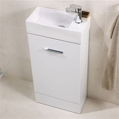 Cheri Cloakroom Vanity Unit with Basin - £199 | Bathroom Heaven http://www.bathroomheaven.com/small-vanity-units/cheri-slimline-cloakroom-vanity-unit-400x200mm-13321.aspx