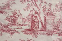 Lovely pink toile de Jouy fabric ~ sweet curtain panel ~ ideal for any French country interior ~ www.textiletrunk.com